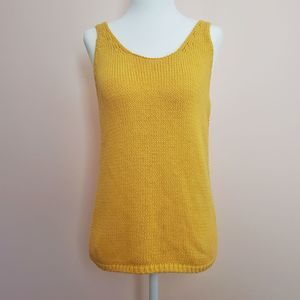 Lucky Brand Size Medium Yellow Knitted Tank Top